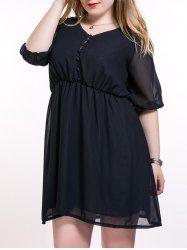 Plus Size Brief Elastic Waist Buttoned Dress