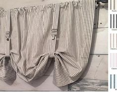 Farmhouse Ticking Stripe Cafe Curtains/Drapes/Valance/Pillow -Overall Buckle Tab Top Colors-Custom Curtains -Ships in Biz Days Tab Top Curtains, Linen Curtains, Bedroom Drapes, Vintage Curtains, Sheer Drapes, Farmhouse Curtains, Kitchen Curtains, Ticking Stripe, Striped Bedding