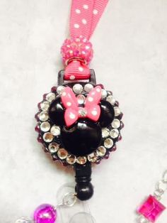 Hot Pink Minnie Mouse Retractable Badge Reel / by ForTheLovetlc, $18.00
