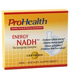 Energy NADH 5mg (NADH Supplement ). Long-lasting Energy, Without Stimulants. Improves Cellular Energy. Elevates Mental Clarity. Improves Alertness & Concentration. Available at ProHealth.com ($15.49) #ProHealth