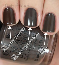 """OPI: Nordic Collection Comparisons Pointer to ring; 2 coats of each: OPI """"Suzi Loves Cowboys"""", OPI """"How Great Is Your Dane?"""" & Zoya """"Emilia"""""""