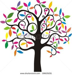 tree+with+rainbow+leaves | ... tree. simple stylized tree with rainbow leaves. Vector Illustration