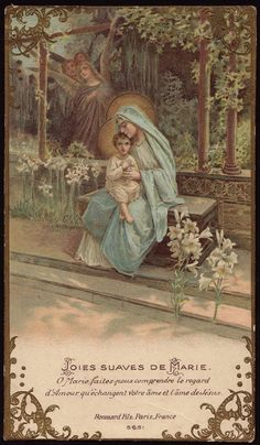 Vintage Prayer Cards - THE SWEET JOYS OF MARY O Mary, help us comprehend the look of Love exchanged between your heart and the Heart of Jesus. Blessed Mother Mary, Blessed Virgin Mary, Jesus Mother, Catholic Art, Religious Art, Roman Catholic, Images Victoriennes, Vintage Holy Cards, Mama Mary