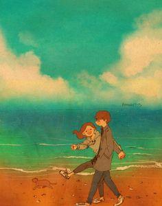 바다 (Ocean) 바다는 아직 많이 추웠어요. 그렇지만 너와 함께 걸었던 그 바다는 정말 아름다웠어요. The ocean was still cold. But the ocean where we walked together was so beautiful.