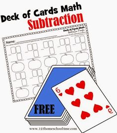 Math Game - Deck of Cards Math is a fun way for kids from Kindergarten, 1st grade, 2nd garde and more to practice subtraction. With this unique activity the equations change every time for more math practice!