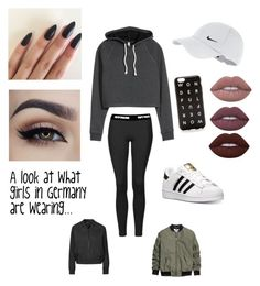 """Teens in Germany"" by sarah-muth ❤ liked on Polyvore featuring NIKE, adidas, Topshop, J.Crew, Lime Crime and germany"