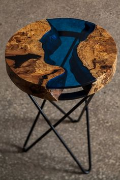 Aqua side table, made from ash tree and blue acrylic, cracks filled with epoxy. This side table also looks like the earth. Available for sale at www.mamut.com.tr