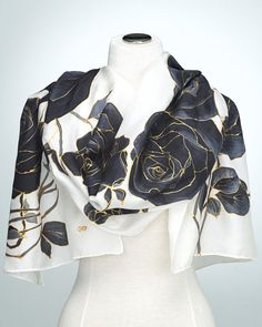 Hand Painted Silk Scarf Silk Shawl using French dyes. Black
