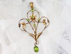 Stunning Antique Victorian 9ct Gold Peridot Paste Lavalier Pendant - Signed BROS #Bros