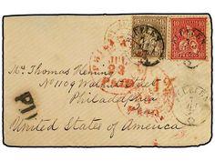 SUIZA. 1862-67. 10 c. carmine + 1 fr. bronze, tied by FLUELEN cds?s on an 1867 cover to PHILADELPHIA, with red FRENCH, NEW YORK and PHILADELPHIA transit cancels, BASEL backstamp. Very fine, a nice high value transatlantic usage. Zumstein 36b+38, Sc. 50a+53.