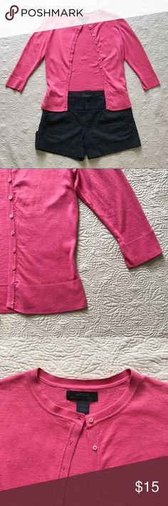 Vintage Express Cardigan Sweater Pink cardigan sweater with three quarter-length sleeves. Cotton/cashmere blend. Gently used— some wash wear.  Cuffed shorts also available in my closet! Express Sweaters Cardigans