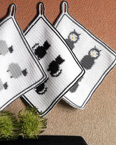 Crochet Hot Pads, Cute Crochet, Crochet Motif, Crochet Flowers, Crochet Potholders, Manta Crochet, Crochet Kitchen, Line Patterns, Mug Rugs