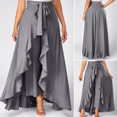 Grey High Waist Slimming Pants With Skirt Tie Front Grey Side Zipper Overlay Pants Tie Waist Side Zipper Grey Overlay Pants—LOVE this look and need to figure out how to make them! Palazzo skirts for all occasions. Ideas for creativity, patterns. Mode Abaya, Mode Hijab, Look Fashion, Fashion Outfits, Womens Fashion, Beautiful Outfits, Cute Outfits, Dress Skirt, Dress Up