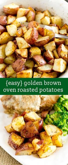 easy oven roasted potatoes recipe / hints for golden brown potatoes / easy side dish recipe / whole30 side dish / healthy side dish / red