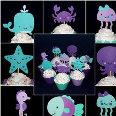 Purple & Teal Under the Sea Cupcake Topper Octopus Whale Crab Seahorse Fish Pick Birthday Cake Decoration Sea Life Baby Shower Wrapper - http://www.babyshower-decorations.com/purple-teal-under-the-sea-cupcake-topper-octopus-whale-crab-seahorse-fish-pick-birthday-cake-decoration-sea-life-baby-shower-wrapper.html