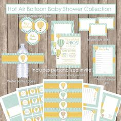 Boy Hot Air Balloon baby shower invitation package, teal, yellow, green, boy chevron baby shower (PARTIAL INSTANT DOWNLOAD) - Balloon3  €18.65 EUR