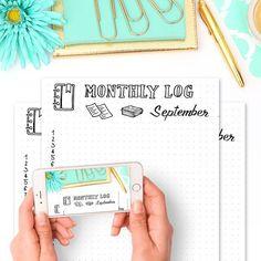 Free Printable Monthly Log  September Bullet Journal Spread - Wundertastisch