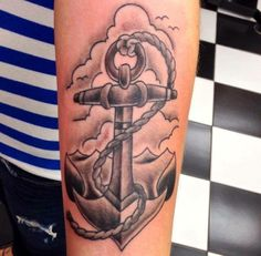 Black and Grey Anchor Tattoo