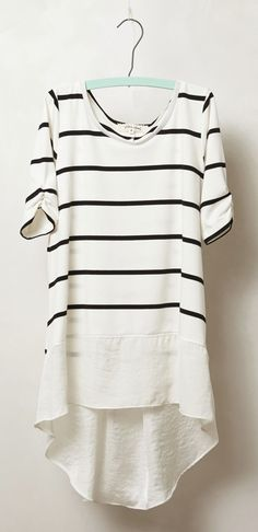 Stripes tunic-upcycle solid and print tee from thrift store?