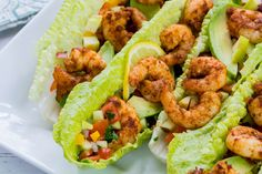 Super Quick and Healthy Spicy Shrimp with Apple Salsa on Crisp Lettuce Wraps - Clean Food Crush