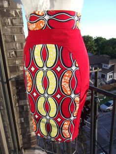 High Waist Red, Yellow, Orange and Ivory African Print Pencil Skirt.