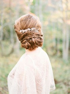 Vintage Bridal Updo with a Pearl Headpiece | Common Dove Photography on @acoastalbride via @aislesociety