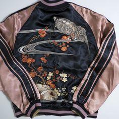 Japanese Classic Script Red Blossoms Turtle Butterflies Usagi Bunny Metallic Souvenir Sukajan Jacket - Japan Lover Me Store