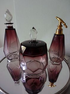 3 Piece Vintage Art Deco Purple Violet Crystal Perfume Vanity Set from France