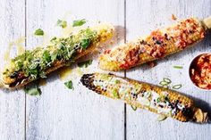 These flavorful and improved grilled corn on the cob toppings include basil pesto, a tomato butter, miso mayo. Grilled Fruit, Grilled Vegetables, Grilled Meat, How To Cook Beef, Eating Vegetables, Basil Pesto, Cooking On The Grill, Vegetable Dishes, Vegetable Ideas