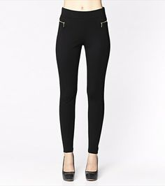 Edgy and glamorous! This legging features side zippers that will add a touch of glam to any look.