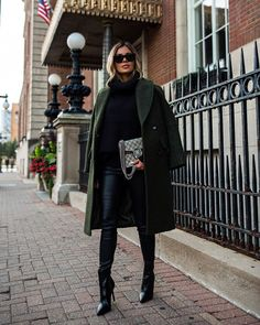 """Maria Vizuete • Mia Mia Mine on Instagram: """"Military vibes. 💚 Always love adding green to my fall wardrobe. Sharing this look and a fall capsule wardrobe on my blog today with…"""""""