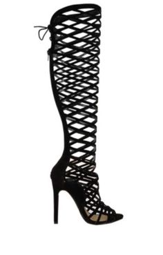 LADIES WOMENS CUT OUT LACE KNEE HIGH HEEL BOOTS GLADIATOR SANDALS STRAPPY TOT95 | eBay