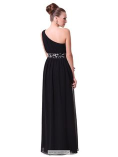 """One shoulder floor length chiffon dress with sequined belt  $128.98"""