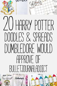 Bullet Journal Harry Potter Themes - Harry Potter Doodles and Designs for Bullet Journal Spreads and Layouts - 20 Harry Potter Doodles and Spreads Dumbledore Would Approve Of Bullet Journal Harry Potter, Harry Potter Calendar, Harry Potter Planner, Bullet Journal Font, Theme Harry Potter, Bullet Journal Hacks, Bullet Journal Printables, Bullet Journal Spread, Bullet Journal Ideas Pages