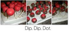 Lady Bug Cake Popa... Bake. Mix. Ball. Poke. Freeze. Dip. Dip. Dot.