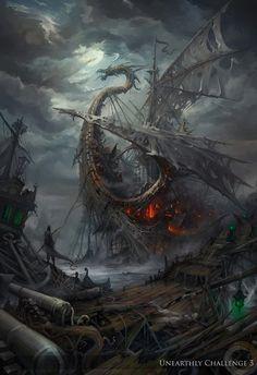 Fantasy Art: City of Lost Ships - 2D Digital, FantasyCoolvibe – Digital Art