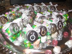 creative gift for the guests at the bridal shower (personalized M&M's)