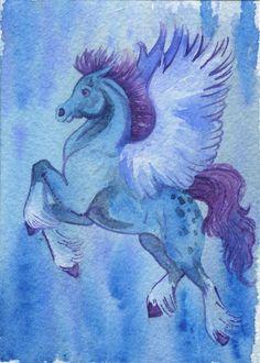 Blue Pegasus ACEO Print by LauraGarabedian on Etsy