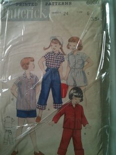 Butterick #6958. Girl's Pants Top and Shorts, size 6. Looks to be from the 1950's.