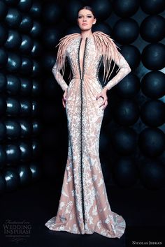 nicolas jebran spring summer 2013 couture long sleeve gown