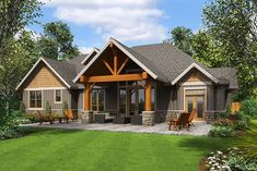 Over 3,000 sq ft  Rugged Craftsman House Plan with Upstairs Game Room - 69650AM thumb - 02