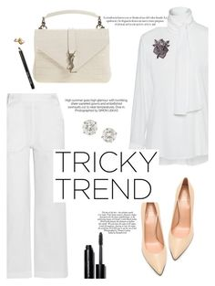 """Creamy White"" by igedesubawa ❤ liked on Polyvore featuring Bobbi Brown Cosmetics, DKNY, MiH Jeans, Yves Saint Laurent, Stuart Weitzman, Sonia Rykiel, women's clothing, women's fashion, women and female"