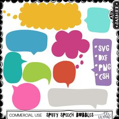 Spiffy Speech Bubbles Shapes SVG Cut Files + CSH (Commercial Use Available)
