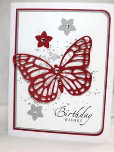 Stampin Up Handmade Birthday Card, Butterfly Framelit, Sincere Salutations, Flower Punch, Gorgeous Grunge by Stampin Amore