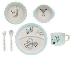 Why We Love It Bamboo Kids Serving Set Off White/Mint Set of 6 Gift Box Included. Colors: off white/mint W/ black image/text. Square Dinnerware Set, Dinnerware Sets, Mini, Calming Colors, Burke Decor, Dish Sets, Dinner Sets, Deco Design, Shops