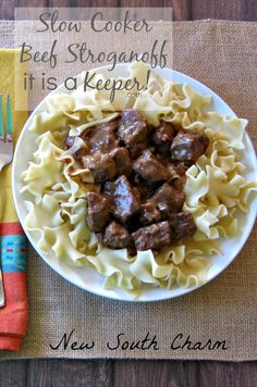 This SLOW COOKER BEEF STROGANOFF is pure comfort food. It's one of the best crock pot recipes!