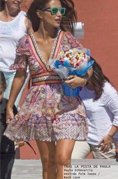 Paula echevarría look con vestido tipo folk - Highly Preppy