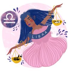 Libra Zodiac Illustration Art Print by vetvy Libra Art, Zodiac Art, Astrology Zodiac, Astrology Houses, Astrology Signs, Sagittarius, Aquarius Constellation Tattoo, Libra Tattoo, What Is Birthday