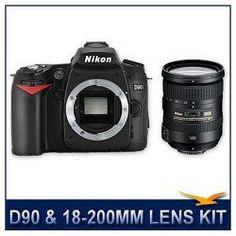 """Nikon Nikon D90 SLR Digital Camera, 12.3 Megapixel, DX Format CMOS Sensor, 3"""" VGA LCD Display, Kit Includes: AF-S DX NIKKOR 18-200mm f/3.5-5.6G ED VR II Lens"""