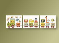 Lot de 3 illustrations pour chambre d'enfant et bebe, chambre garcon